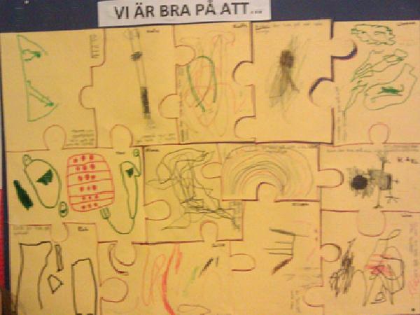 Pusselbitar gjorda av barn som sagt och ritat vad de är bra på. Texten står på varje pusselbit.