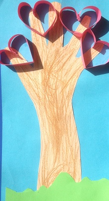 Ett träd av en hand med hjärtan