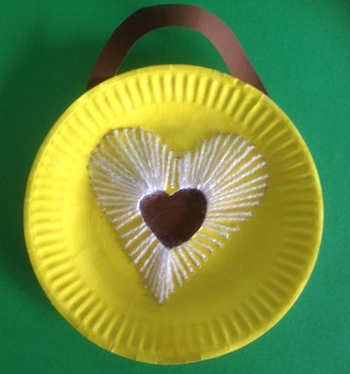 Ett hjärta som har bildats av trådar på en papptallrik
