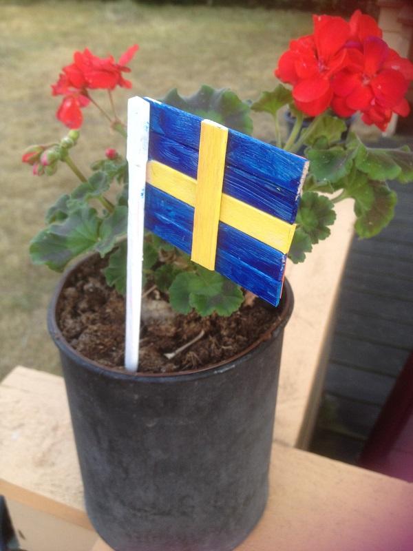 Flaggan är gjord av glasspinnar