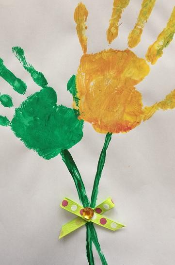 Blombukett av handtryck