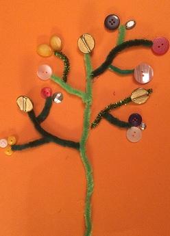 Piprensarträd med knappar