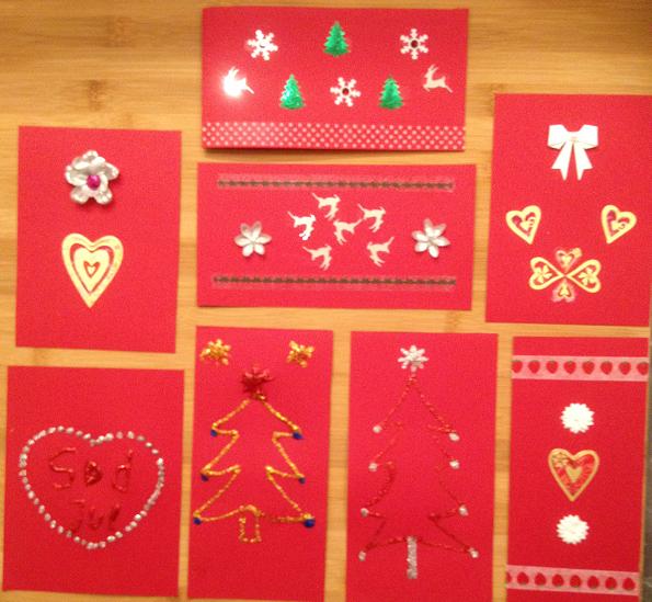 Exempel på handgjorda julkort
