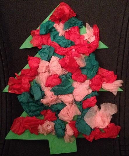 Julkort - en gran med silkespappersduttar på