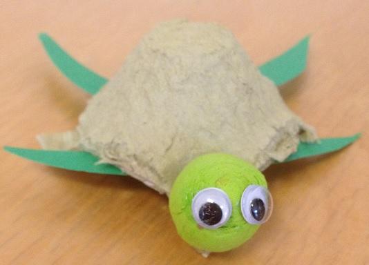 En sköldpadda av en äggkartong