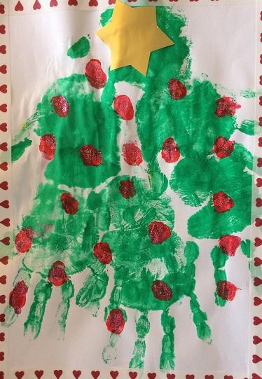 A4 stor julgran av händer